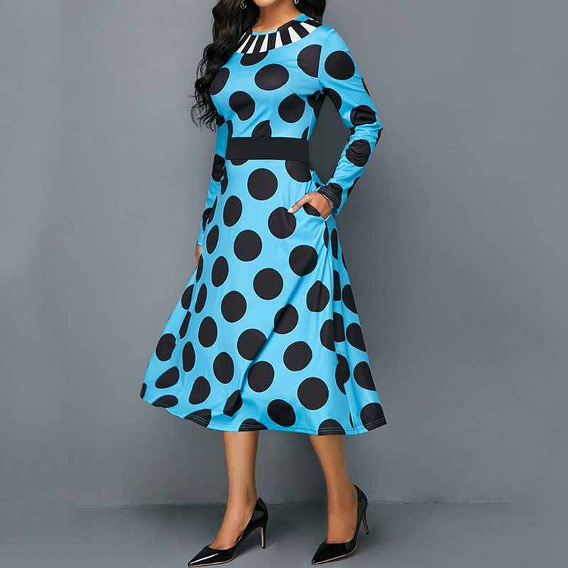 קיץ מתוק בתוספת גודל אלגנטי המפלגה משרד ליידי Vintage נשים שמלות גדול נדנדה כיס הדפסת פולקה נקודות רטרו נקבה Midi שמלה