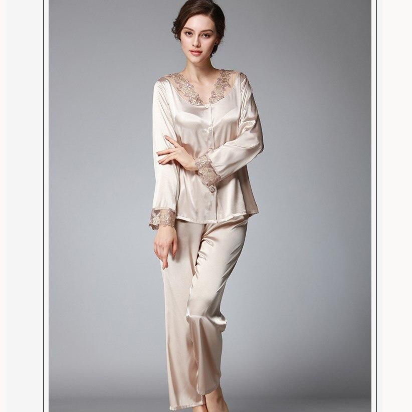 Autumn Woman Sleepwear Sets Flower Embroidery Lace Pajamas Set Long Sleeve Nightwear Women Set