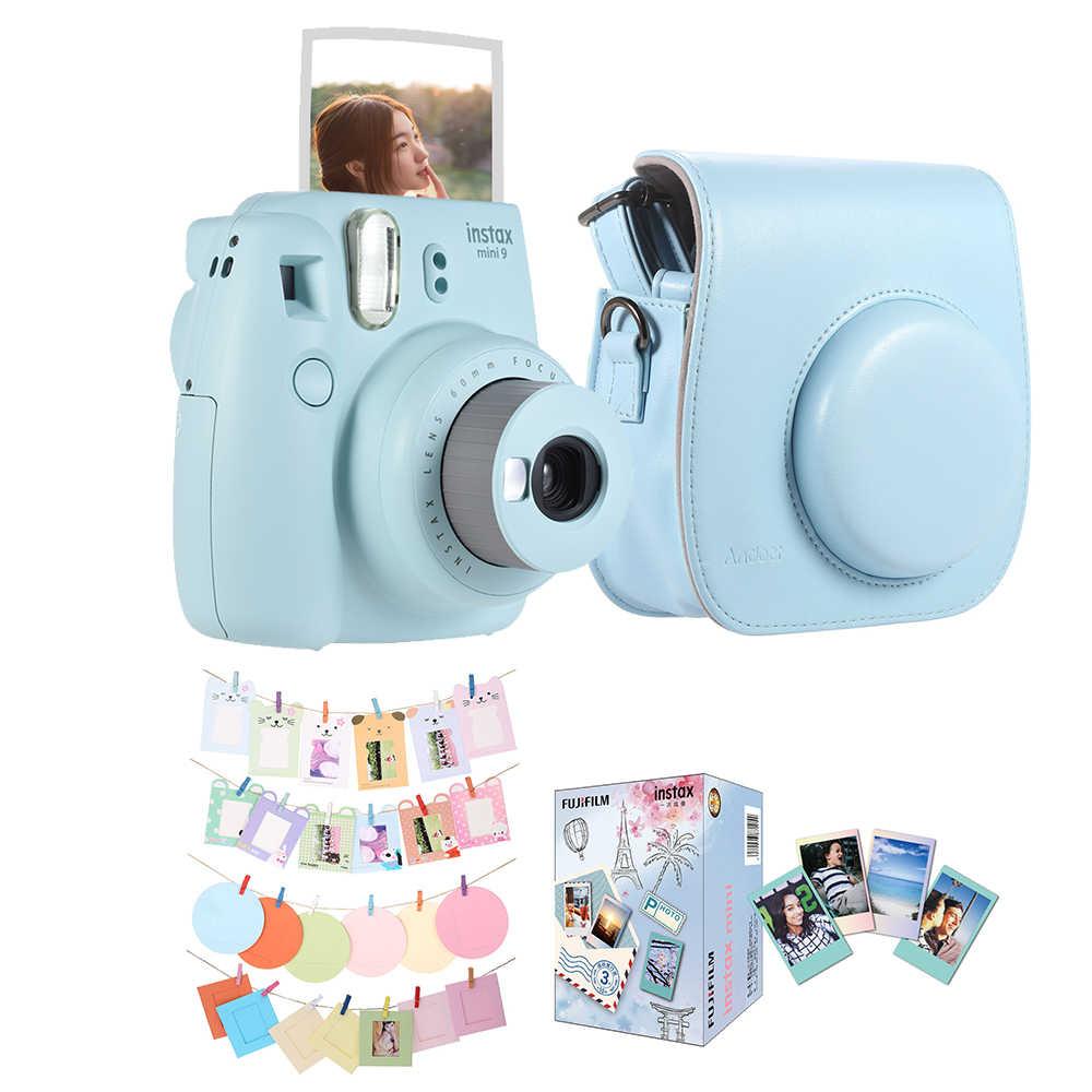 2018 فوجي فيلم Instax ميني 9 كاميرا فورية فيلم كاميرا + الجلود كاميرا حالة + 30 * الفورية فيلم ورق طباعة الصور + كاميرا اكسسوارات كيت الأزرق