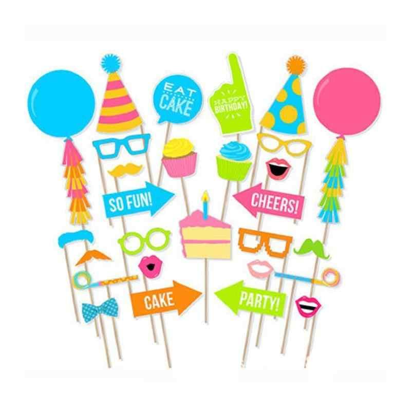 28 Pcs Pesta Ulang Tahun Photo Booth Alat Peraga Photobooth Props Kumis Kacamata Balon Kue dan Topi DIY Kit