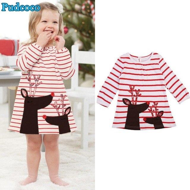 ee48f06e6b17 Pudcoco 2019 Brand New Baby Girls Christmas Xmas Reindeer Little Girls Cute  Dress One Piece
