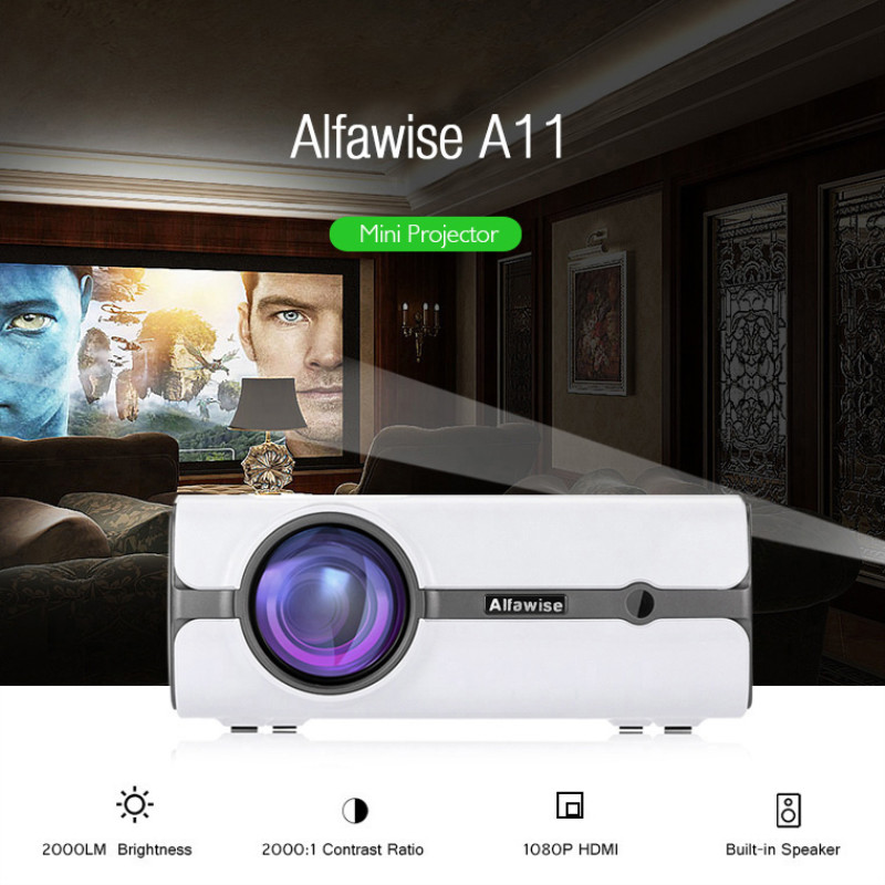 Alfawise A11 LCD 2000 Lumens Home Theater Mini Projector Support HD 1080P HDMI VGA AV USB Xbox for Laptop Without OSAlfawise A11 LCD 2000 Lumens Home Theater Mini Projector Support HD 1080P HDMI VGA AV USB Xbox for Laptop Without OS