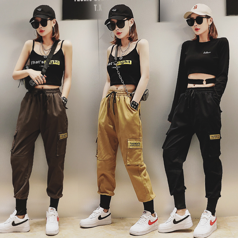 Qiukichonson Hip Hop Joggers Women 2019 Spring Big Pockets High Waist Loose Fashion Cargo Pants Women Black Harem Pants
