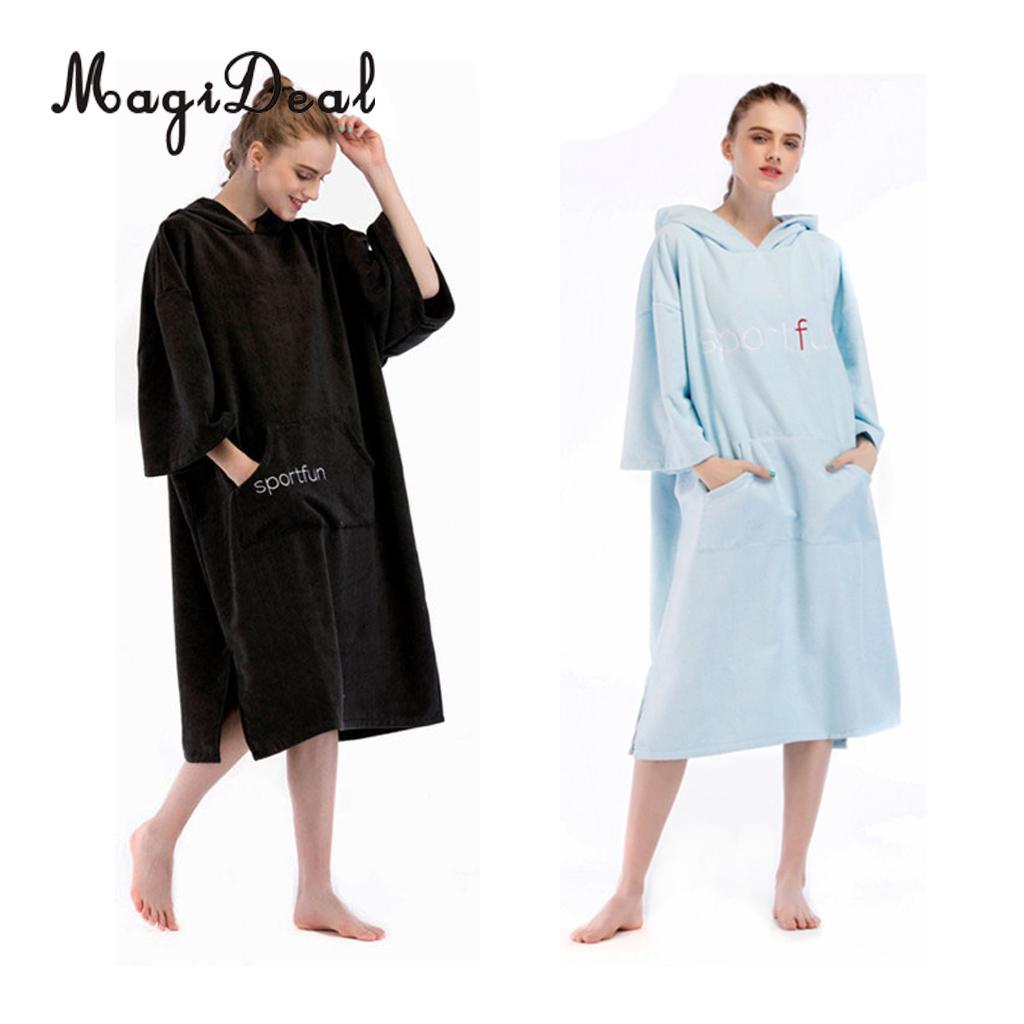 Adult Women Man Changing Robe Bath Towel Hooded Beach Towels Poncho Bathrobe for Surf Swim Kayak