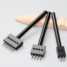 Punzonadora redonda para cuero negro, herramienta de punzonado, cortador de agujeros, espaciado de 4/5/6/mm, 2/4/6/agujero, 1 Uds.