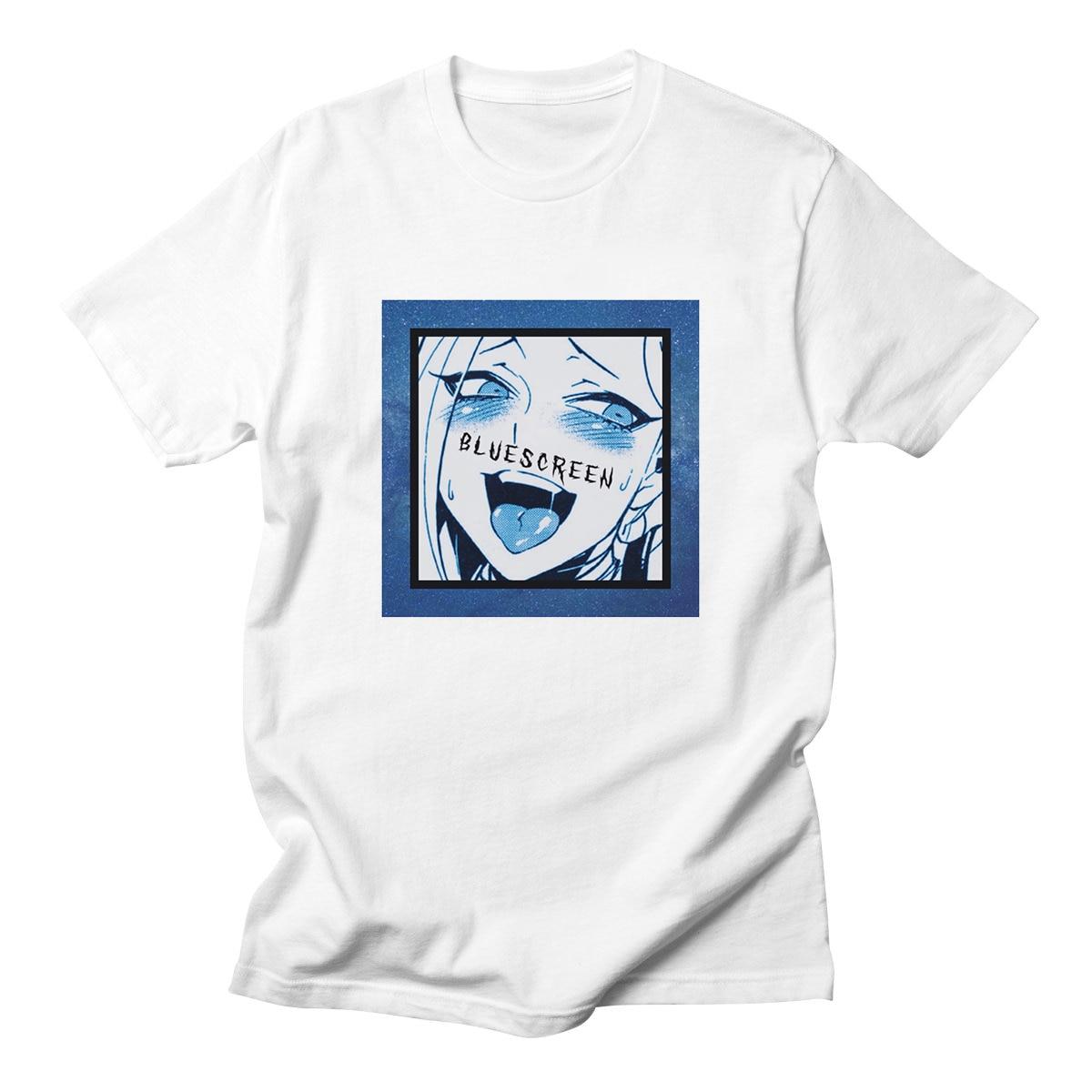 Ahegao   T     Shirts   Harajuku FaceFunny Shy Kawaii Girl Sexy Men Unisex Short Sleeve Anime Top Clothes 100% Cotton Tees
