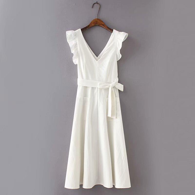 2019 Summer Cotton and Linen White Maxi Dress with Pockets Women Back Hollow Out Belt Ruffles Tank Dress Sexy V Neck Vestidos