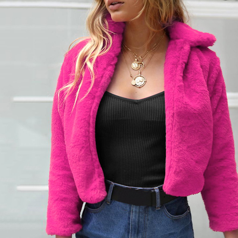 2019 New Winter Women Faux Fur Coat Solid Color Long Sleeve Turn-down Collar Jacket Fluffy Warm Outerwear abrigo mujer bontjas