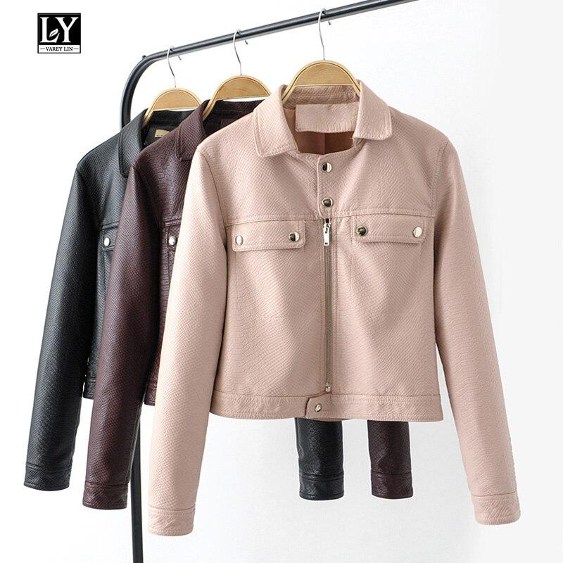 Ly Varey Lin Spring Autumn Women Faux   Leather   Snakeskin Jacket Coats Pu Motorcycle Black Pink Zipper Jacket Female Outerwear