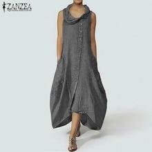 ZANZEA Plus Size Women Long Maxi Dress Stylish Asymmetrical Neck Dresses Sleeveless Long Shirt Vestido Cotton Linen Robe Femme цены