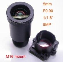 """Luz da estrela f0.90 aparture 5mm lente 5mp 1/1. 8 """"formato para sensor de imagem imx327, imx307, imx290, imx291 câmera pcb placa módulo f0.9"""