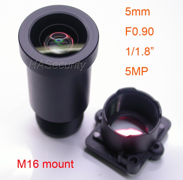 "Star Light F0.90 aparture 5mm LENs 5MP 1/1.8"" format for image sensor IMX327,IMX307,IMX290,IMX291 camera PCB board module F0.9"