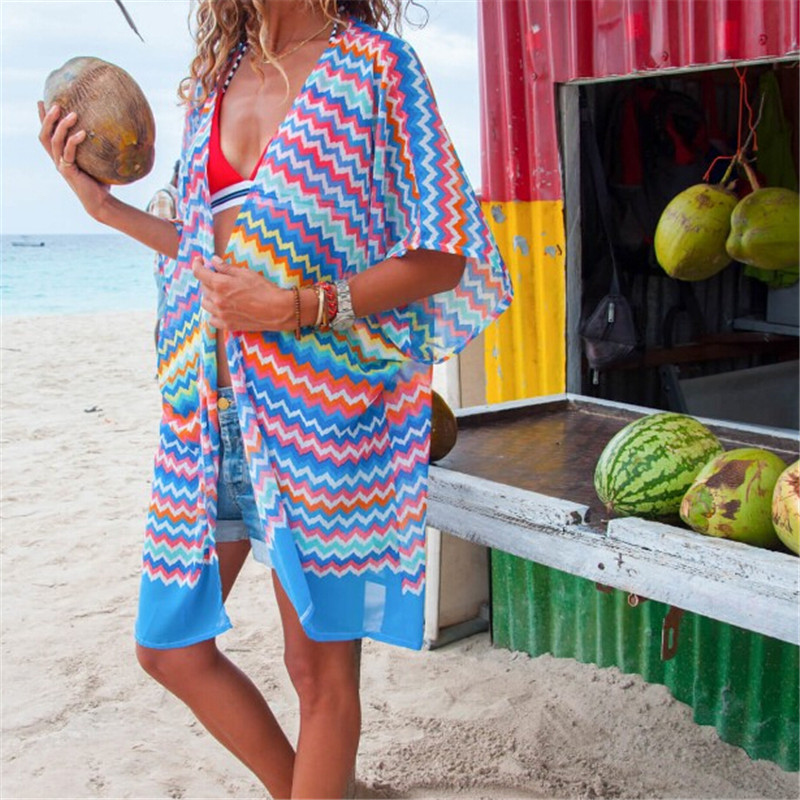 Sexy Women Chiffon Beach Dress Bathing Open Cardigan Bikini Cover Up Leaves Printed Beachwear Dress Shawl Wrap Pareo Cover-Ups