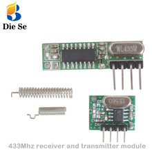 цена на RF module 433 Mhz superheterodyne receiver and transmitter kit with antenna For Arduino uno Diy kits 433mhz Remote control