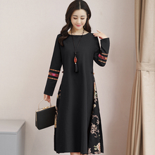Robe Femme 2019 Spring Autumn Vintage Vestidos Women Casual Loose O-neck Long Sleeve Floral Printed Party Dresses цена
