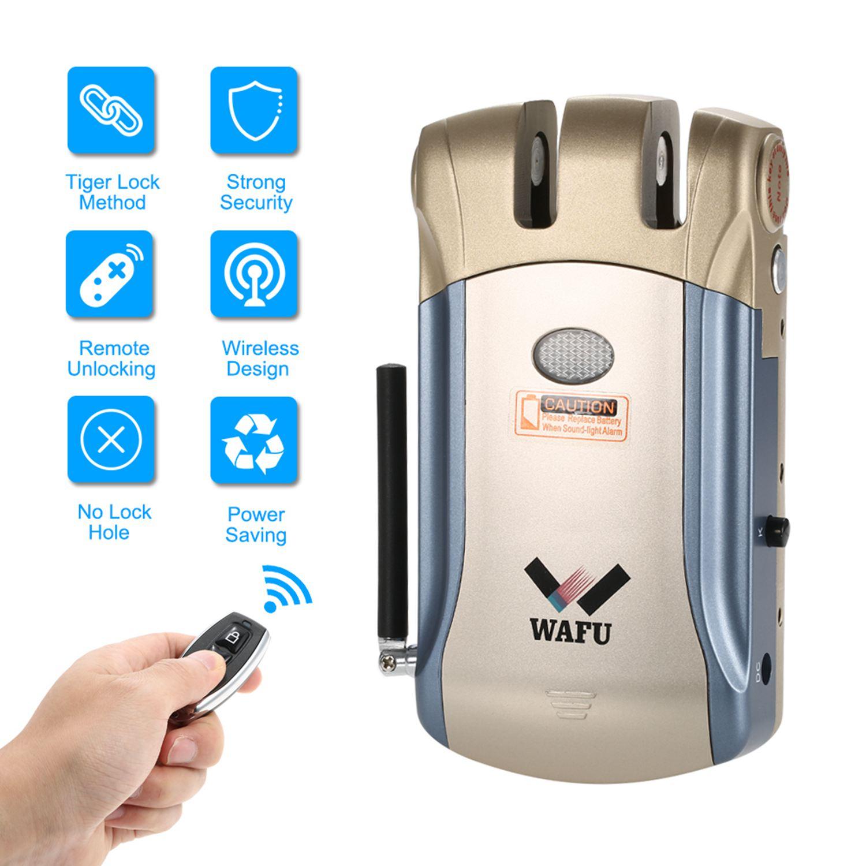 ELEG-WAFU Nouvelle sécurité sans fil Invisible D'entrée Sans Clé serrure électronique Maison Intelligente télécommande serrure intelligente avec 4 Remot