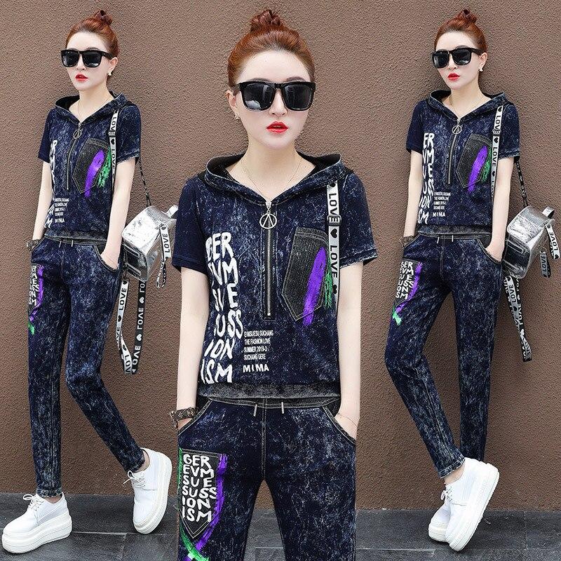 Max LuLu หรูหราเกาหลีเสื้อผ้าแฟชั่นสุภาพสตรีเสื้อและกางเกงสตรี 2 ชิ้นชุดกางเกงยีนส์ชุด Vintage เหงื่อ Tracksuit-ใน ชุดสตรี จาก เสื้อผ้าสตรี บน   3