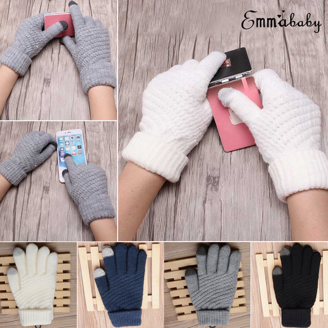 Brand New Men Women Touch Screen Gloves Winter Warm Fleece Lined Thermal Knitted Black Hot