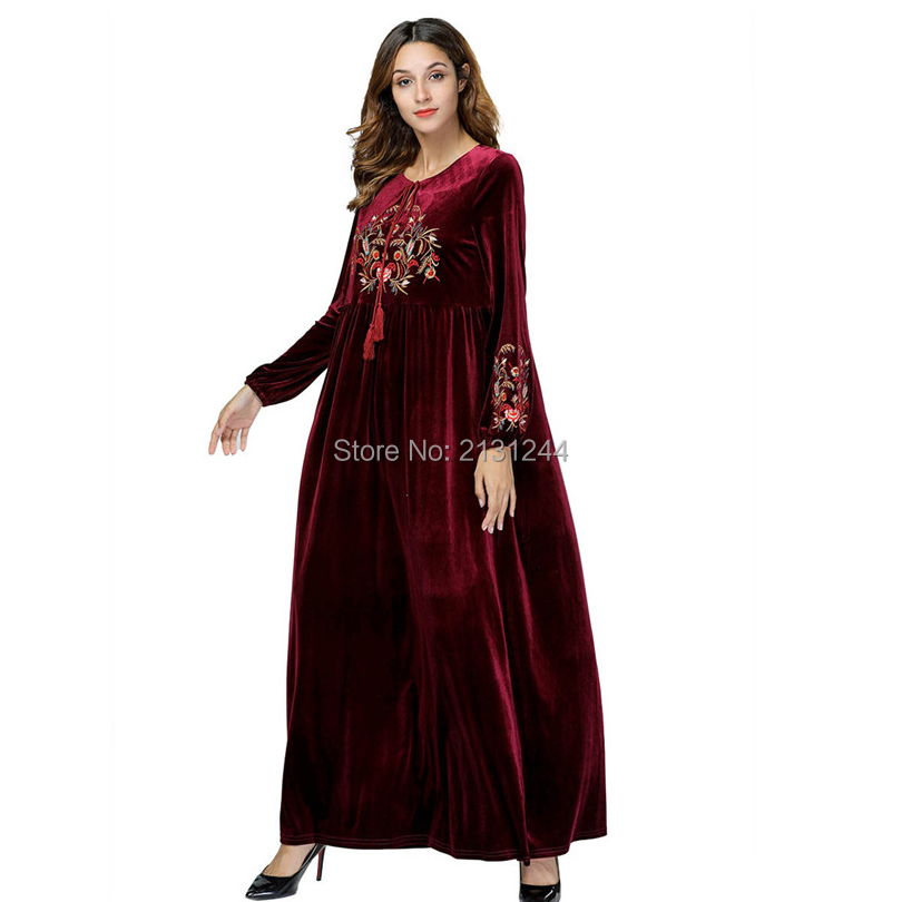 59a9c3a7ec Female Loose Plus size Wine Red Velvet Long Sleeve Maxi Dresses ...