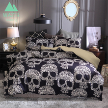 WAZIR 3D Sugar Skull Printed Bedding Sets Single Double Queen King AU EU US Size Duvet Cover With Pillowcase bed Set linen