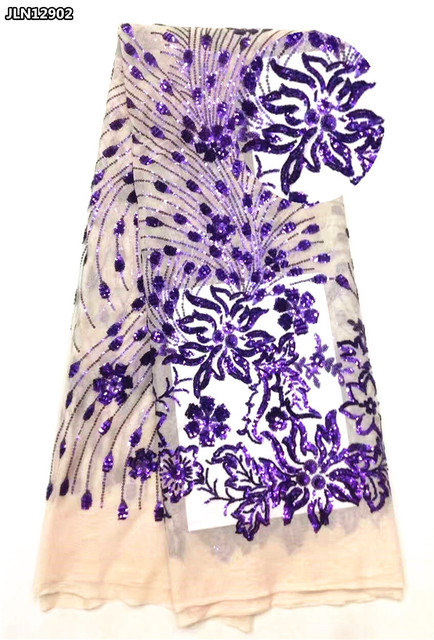 Purple color peacock feathers design african Sequins net tulle  lace fabric for wedding colothing 5 yards JLN12902