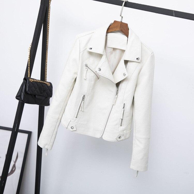 Spring 2019 Women Turn-down Collar Short PU Leather Coat Fashion Long Sleeve Zipper Pu Jacket Slim Solid Outerwear