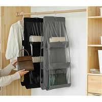 Bolso colgante organizador de armario transparente 6 bolsillos juguete puerta de la pared bolsa de almacenamiento organizador armario colgante organizador