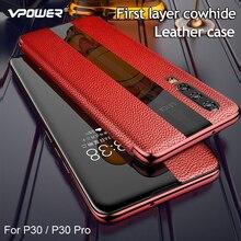 حافظة هاتف هواوي P30 برو من الجلد الأصلي Vpower فاخرة ونافذة عرض ذكية أغلفة جلدية لهاتف هواوي P30/P30 Pro