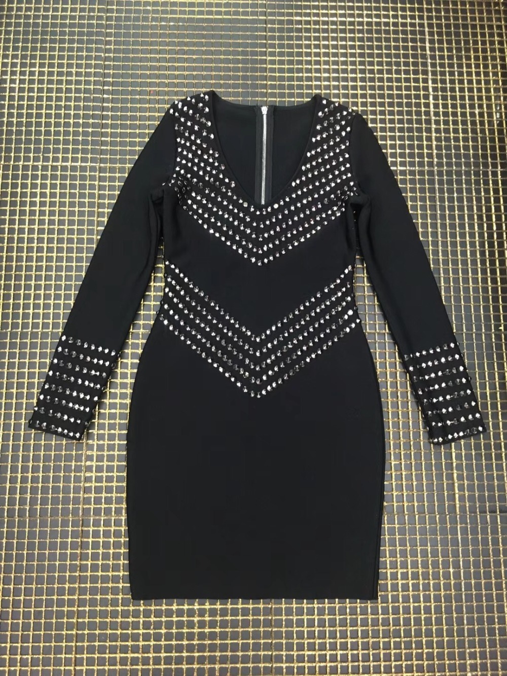 Parti Rayonne Manches Noir Bandage Qualité Moulante Femmes Perles Haute Robe Longues Homecoming Stretch wZP1qnOx