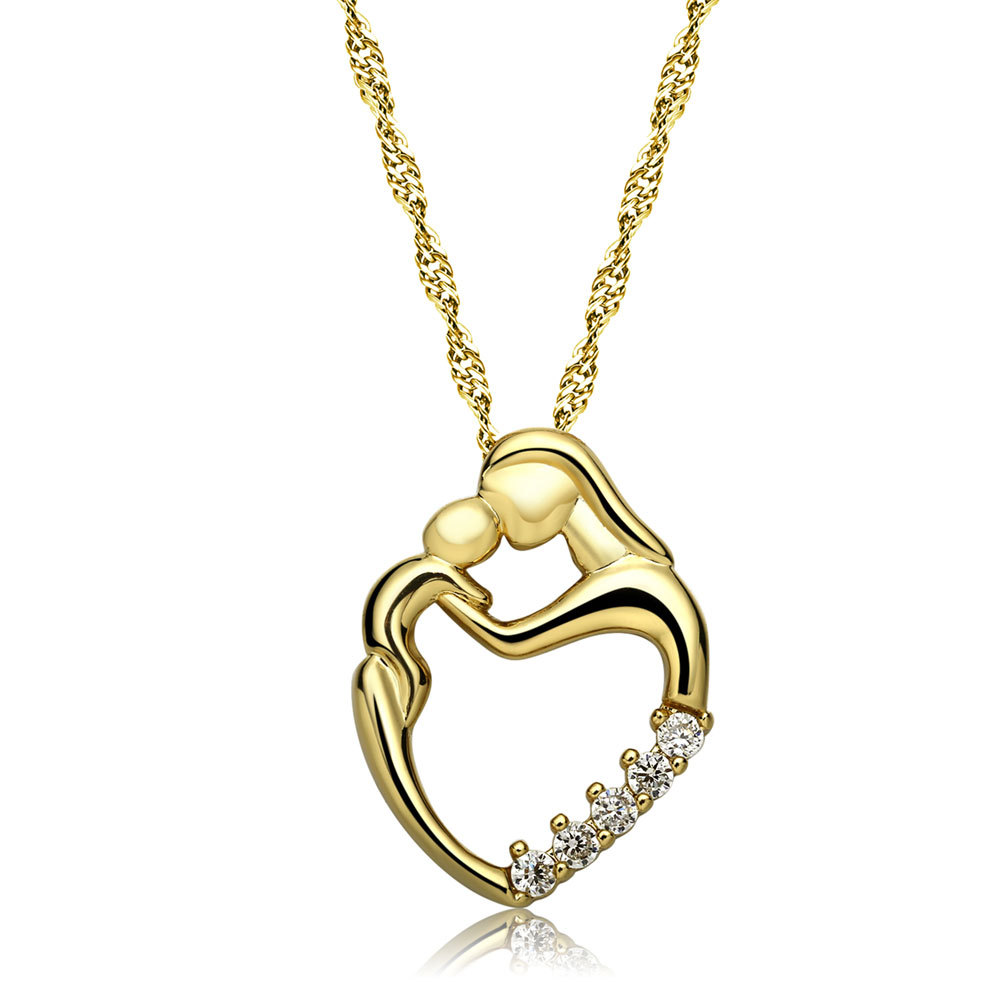 808 STORE Fine Jewelry Mother Child Heart Shaped Necklace Fashion Women Crystal Pendant Necklace Jewelry Wedding Christmas Gift