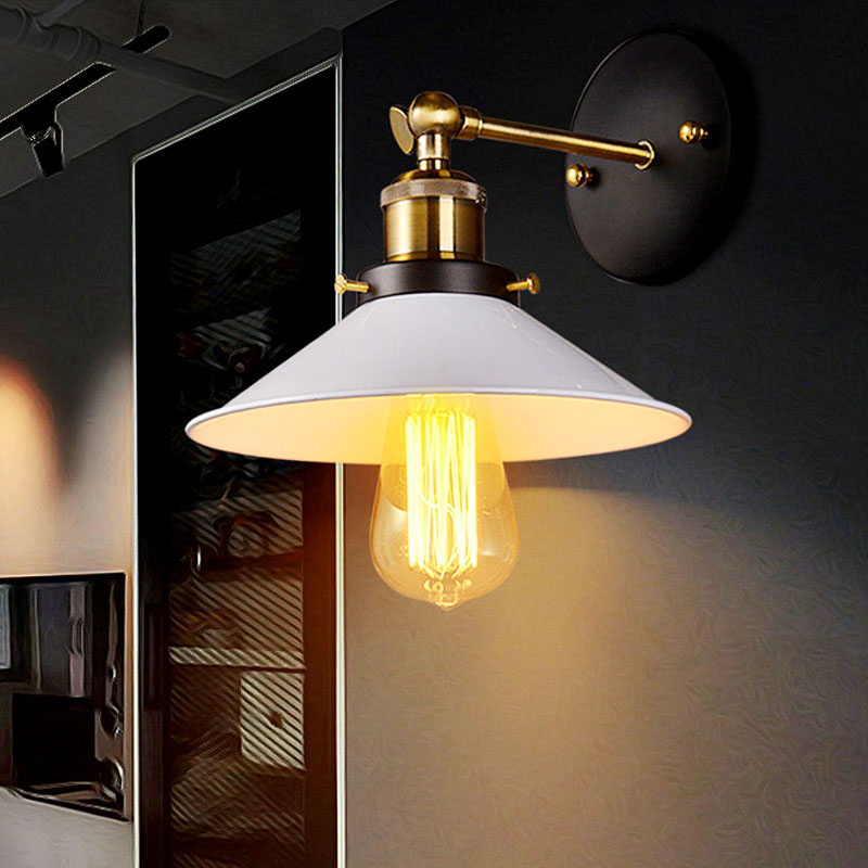220v Led Wall Light Retro Loft Industrial Wall Lamp Black E27 Vintage Sconces Wall Lamp Industrial Lighting Fixture Indoor