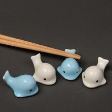 Japanese Cartoon Cute Art Whale Shape Chinese Restaurant Chopsticks Care Ceramic Holder Stand Small Table Decoration Accessories