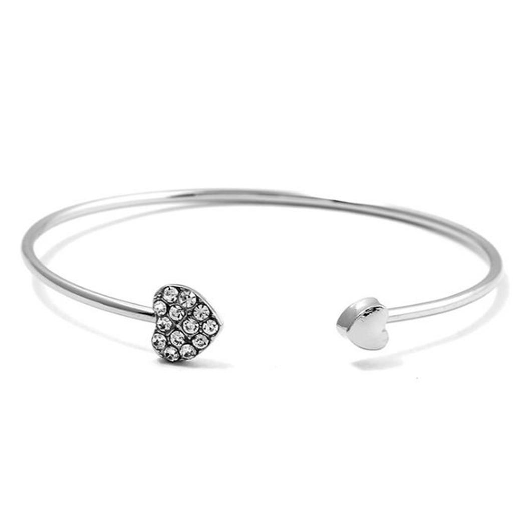 New Women Fashion Heart Shape Open Bangle Artificial Diamond Bracelet Charm Wristband Everyday Beauty