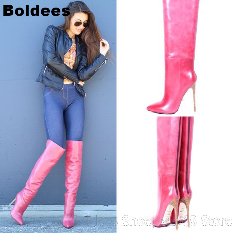 Pink Patent Leather Pointed Toe Women Over The Knee High Heel Boots Sexy Pointed Toe Back Zipper Women Winter High Heels Bota