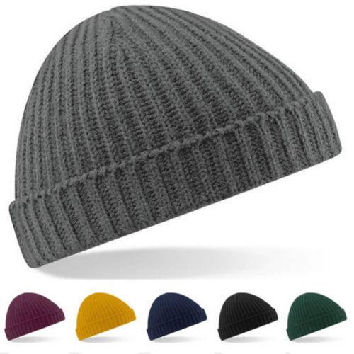 Plain Cuff Beanie Knit Ski Cap Skull Warm Solid Color Winter Blank Beany