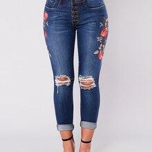 e906852ce708 Wipalo Delle Donne A Vita Alta Ricamato Skinny Distrutto Strappato Hole  Jeans Donna Jeans Stretch Denim Pantaloni Slim Jeans Str..