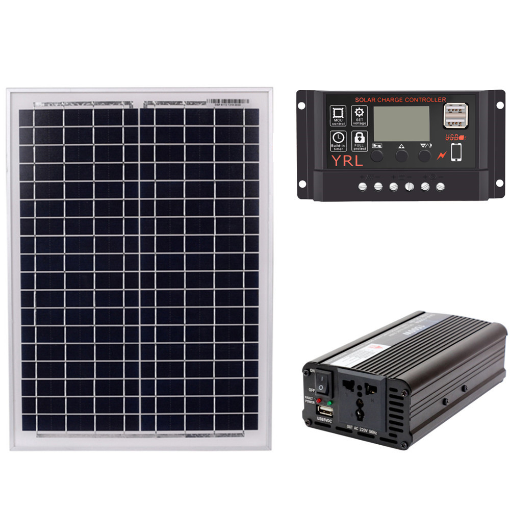 18V20W <font><b>Solar</b></font> <font><b>Panel</b></font> +12V / 24V Controller + <font><b>1500W</b></font> Inverter AC220V Kit, Suitable For Outdoor And Home <font><b>Solar</b></font> Energy-Saving Power image