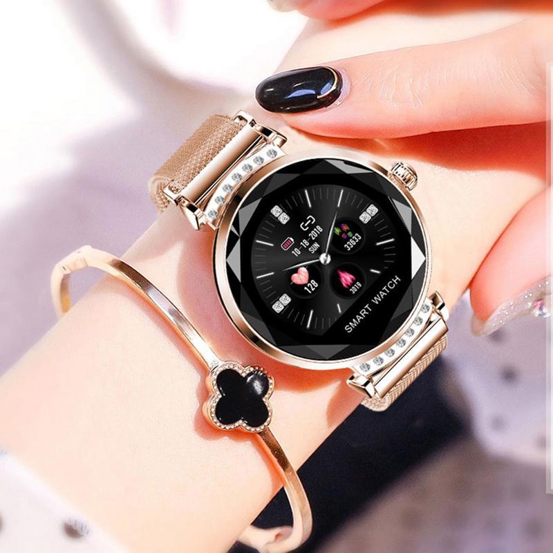 Date Mode H2 montre connectée Femmes 3D Diamant En Verre Coeur Taux La Pression Artérielle moniteur de sommeil Meilleur Cadeau Étanche Smartwatch