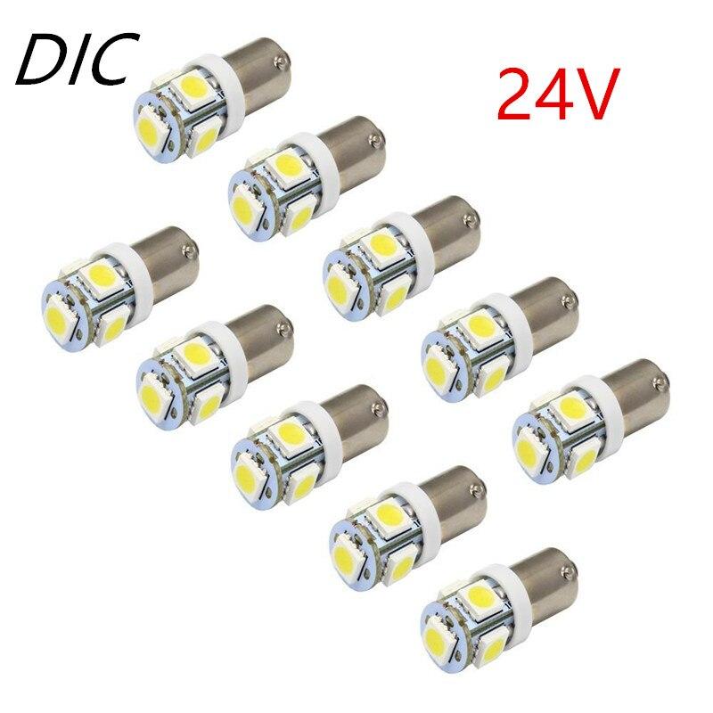 Dic 5 pçs 24 v ba9s 5050 smd 5 led 110 lumen carro lâmpadas led t4w 1445 h6w cunha marcador interior porta de luz interior lâmpada cunha lâmpadas