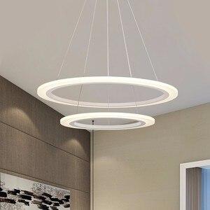 Image 3 - 現代のledシャンデリアダイニングリビングルーム指輪高級光沢時間白黒サスペンションランプとリモコン