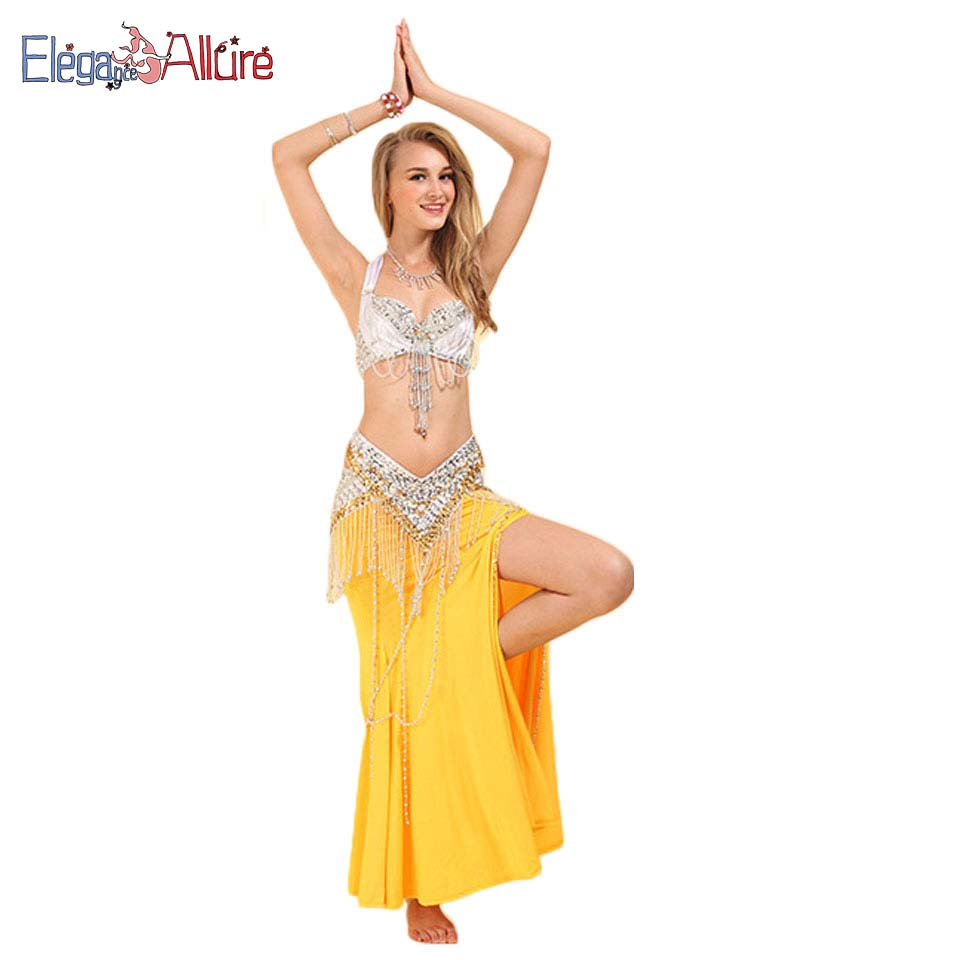 E A Halter Bellydance 3pcs Bra Belt Skirt Belly Dance Costume Belly Dance Clothing Dancer Sexy Dance Suit Women Outfits Dresses in Belly Dancing from Novelty Special Use