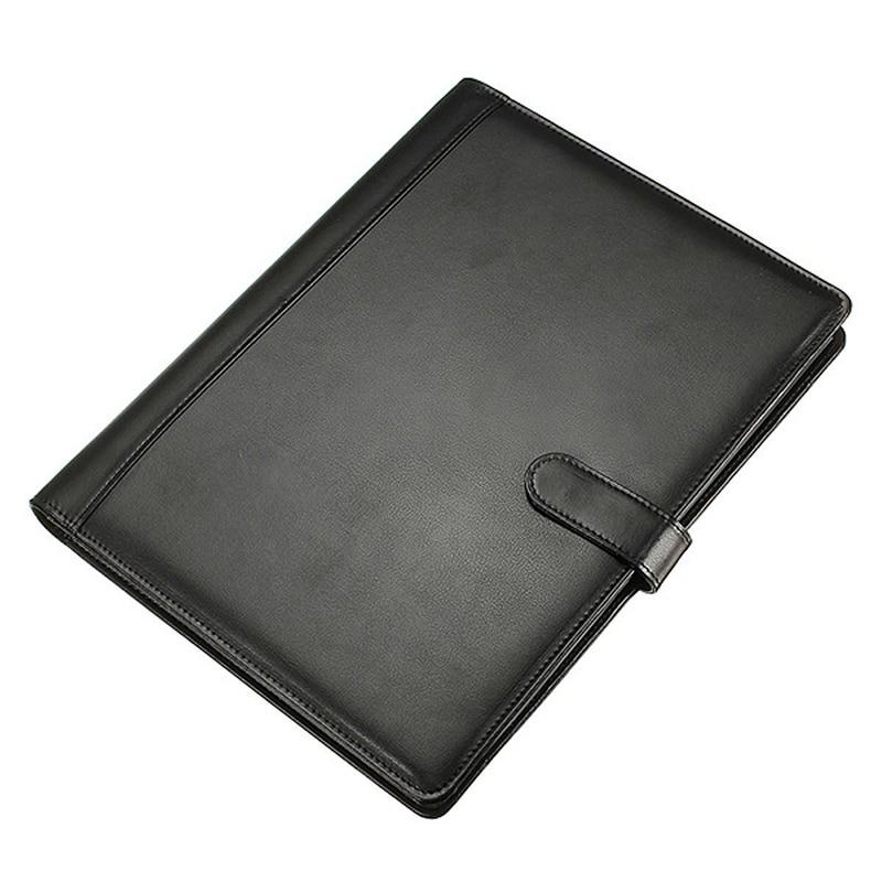 Leather Folder A4 Briefcase Conference Folder Black Storage Bag For Pens Stationery Document