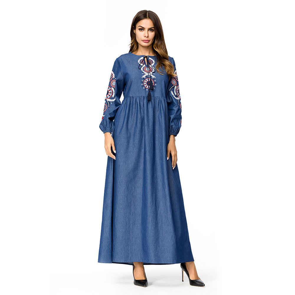 Wipalo Smocking Embroidery Denim Maxi Dress Women Long Sleeve O-Neck  Vintage Robe Casual Spring Winter Party Dress Plus Size 4XL