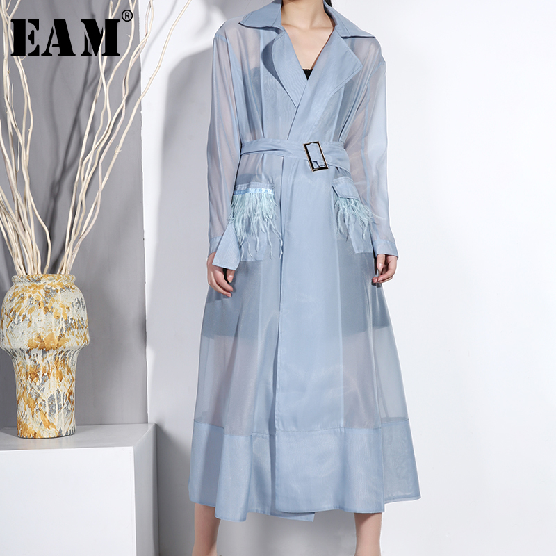 [EAM] 2019 New Spring Summer Lapel Long Sleeve Blue Transparent Feather Stitch Long Windbreaker Women Trench Fashion Tide WB15