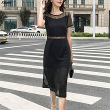 2018 Women Sexy Hollow Out Black Lace Chiffon Dress Party Casual Short Sleeve Bodycon Dresses Summer Vestidos Plus Size Xnxee sexy hollow out sleeve party dress women party plus size 3xl dresses black lace mesh loose vestido femme vestidos de verano d30