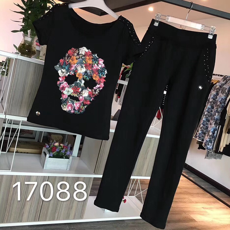 Women s short sleeved cotton trousers with diamond colored skull casual suit