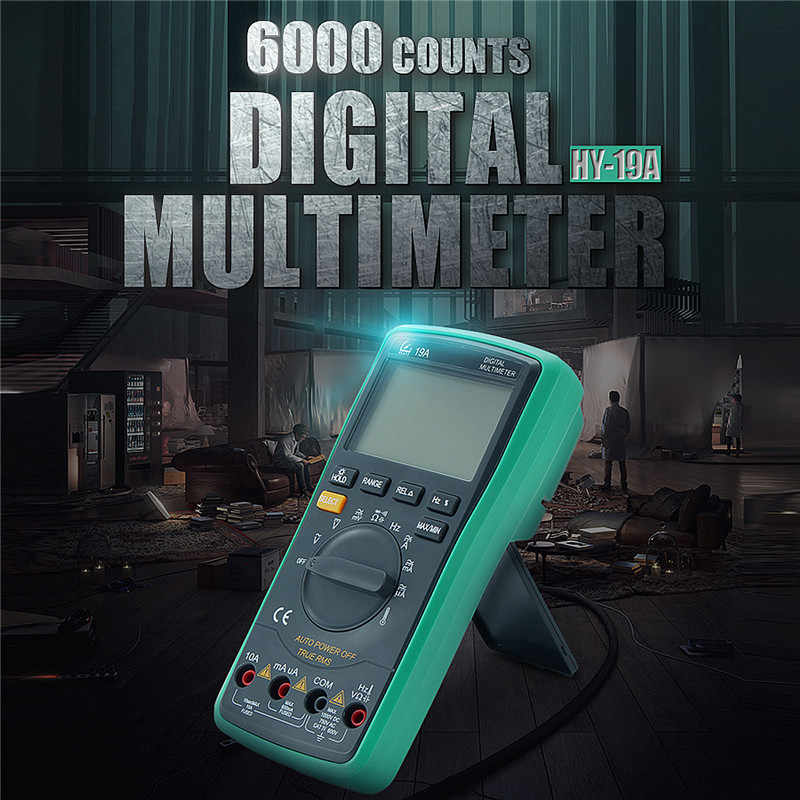 6000Counts Digital Multimeter AC DC Voltmeter Ammeter Ohm Resistance Temperature LCD Backlight Auto HY-19A
