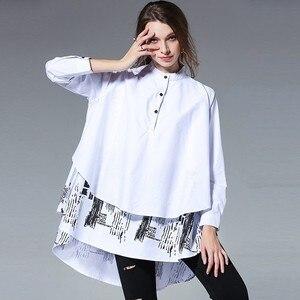 Image 2 - [EAM] blusa holgada de manga larga para primavera y otoño, camisa holgada de color liso con soporte empalmado, talla grande, S05600L, 2020