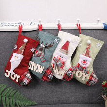 10 Pcs/Lot Santa Claus Elk Snowman Style Christmas Xmas Socks Stockings Decorations Candy Gift Bags for Home Tree 2018