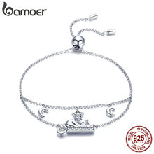 BAMOER Hot Sale 925 Sterling Silver Adorable Cat Moon Pave Chain Women